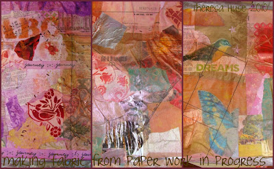 photographs of three fabrics made from paper for art quilting