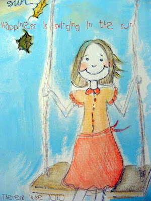 Illustration of a Child Swinging + Happiness Is