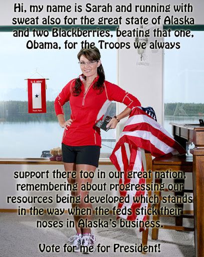 Sarah Palin in tight running shorts, holding two Blackberries, leaning on the American flag, and trying to look adorable
