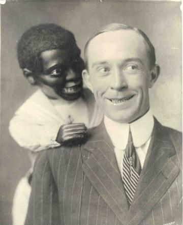 White Man Black Puppet Smiling