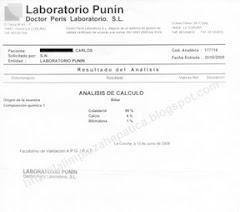 Informe de un Laboratorio certificando la composicón de mis cálculos (color verde guisante)