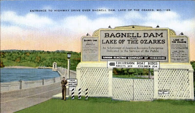 Vintage linen postcard of south entrance to Bagnell Dam