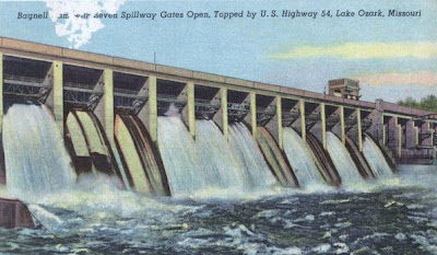Vintage postcard of Bagnell Dam with seven spillway gates open, circa 1949