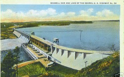 Vintage Linen Postcard of Bagnell Dam, circa 1936