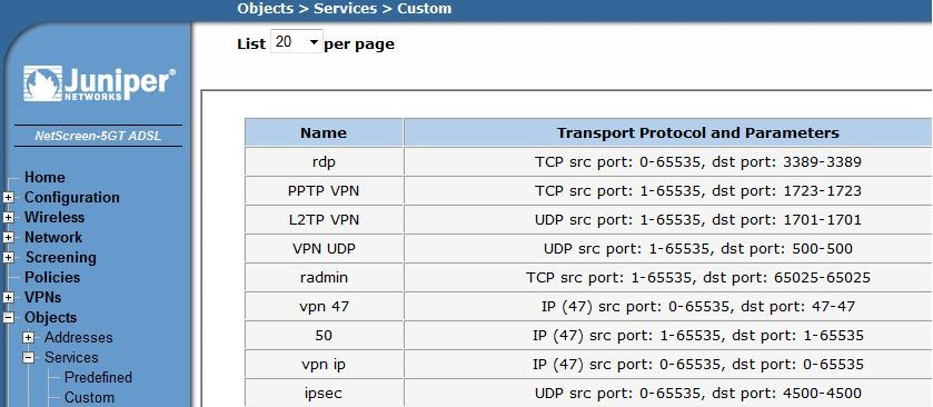 Create custom services in juniper firewall - Service name and transport protocol port number registry ...