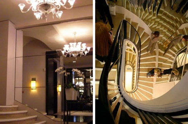 chanel mirrored staircase