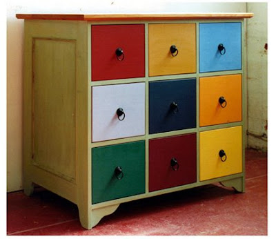 chest with brightly-colored drawers