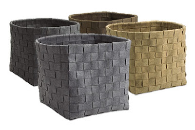 4 felt baskets, woven look