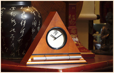 alarm clock with chime, triangular shape, wood