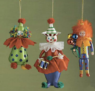 Three Italian clown orgnaments