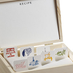 recipe box with picture on tabs