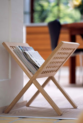 teak newspaper stand