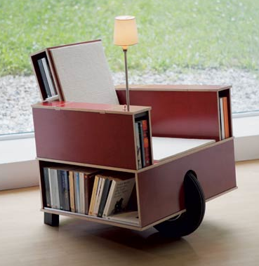 mobile chair - sort of a cart - with book store built in