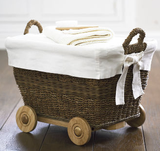 water hyacinth basket on wheels
