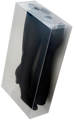 clear boot box with tall black boots inside