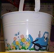Easter bucket with bulldozer and eggs