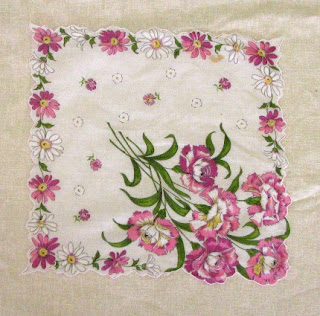 vintage hankie embroidered with pink and white flowers