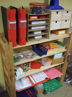 well-organized shelves in Montessori school in Sweden