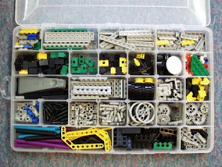 tackle box with LEGO parts