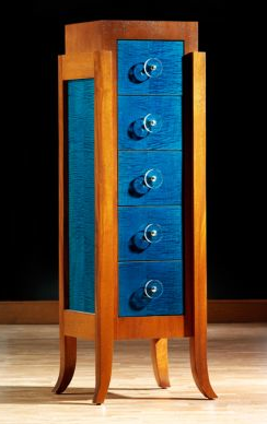 dresser with blue drawers