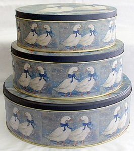 3 nesting tins, geese