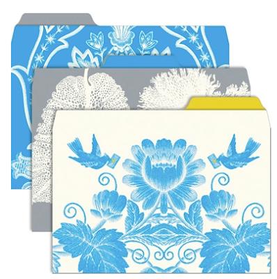 blue floral file folders