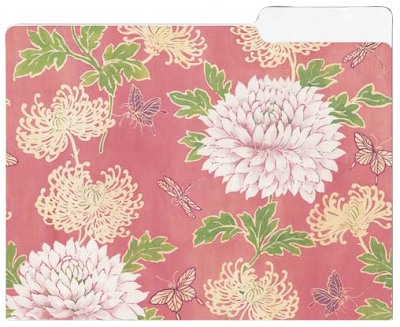 pink floral file folder