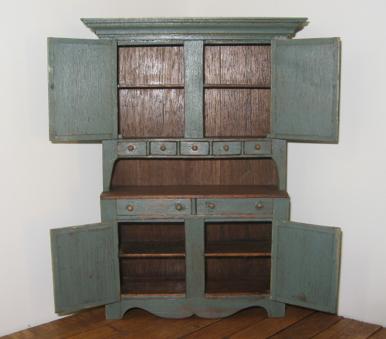 miniature dollhouse cupboard, blue