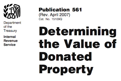 a bit of the cover of IRS publication 561 - Determining the Value of Donated Property