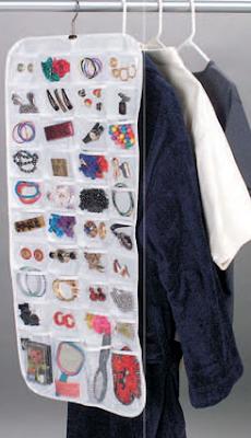 hanging jewelry organizer, in a closet