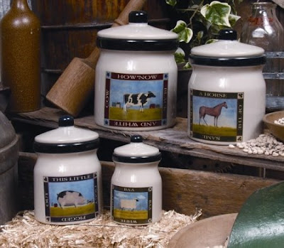 four farm animal canisters