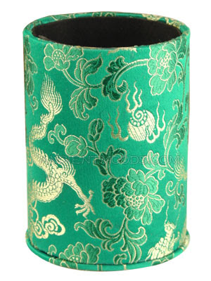 dragon pen holder - green brocade look