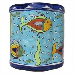 Talavera pottery wastebasket, blue with fish