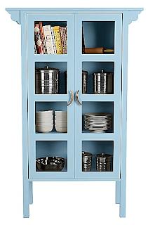 blue glass-front case