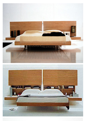 bookcase headboard concealed behind wood panels