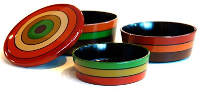 bento boxes round, colorful, lacquerware