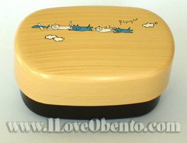 bento box with flying cat images