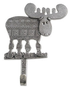 pewter hook shaped like moose