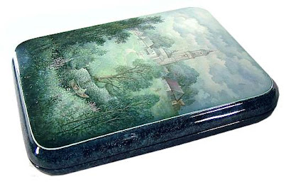 Russian lacquer box with winter scene