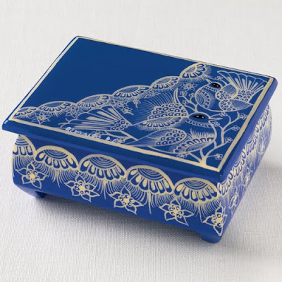 blue lacquer box from Mexico with bird motif