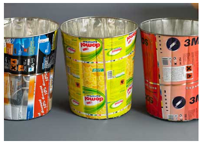 3 wastebaskets from misprinted sheet metal