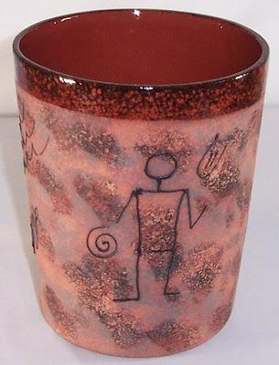 pottery wastebasket,petroglyph design