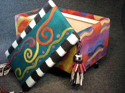 felt storage ottoman, wild pattern