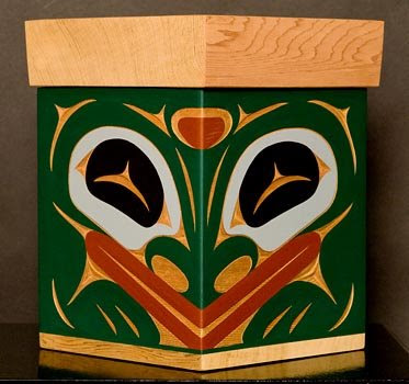 bentwood box with frog image
