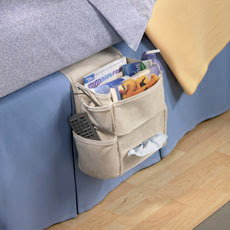 bedside organizer with Kleenex box, remote, magazines and more