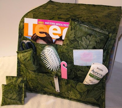 bedside caddy with magazine, hairbrush, lotion and more