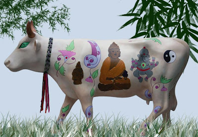 cow, decorated with Buddha, Ganesh and more