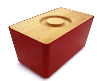 red bread bin wood lid