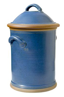 blue pottery bread bin