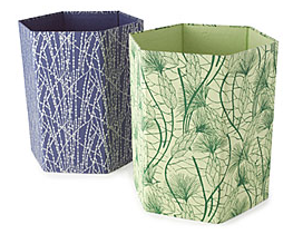 two recycled cotton wastebaskets